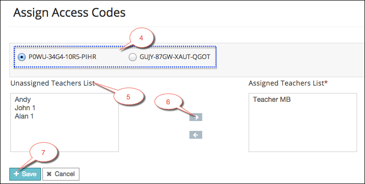 Assign access codes