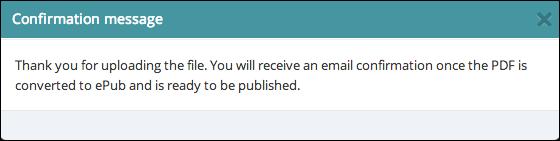 PDF conversion message