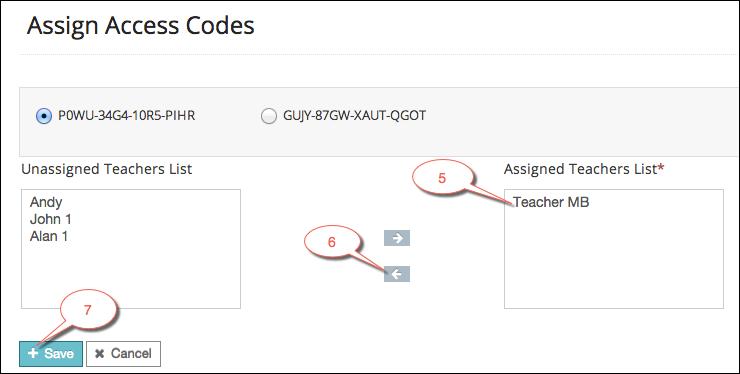Unassign access codes