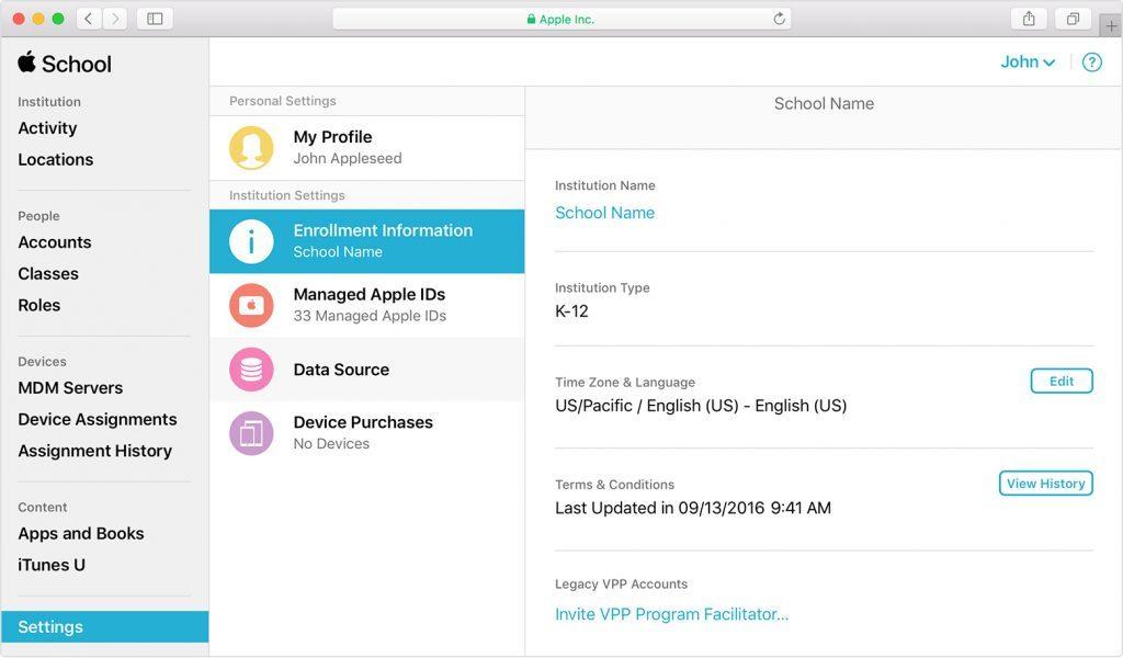 apple school manager portal